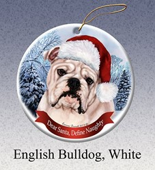 Bulldog Dear Santa Christmas Ornament