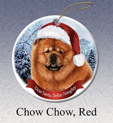 Chow Chow Dear Santa Dog Christmas Ornament