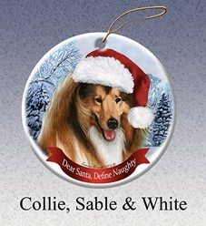 Collie Dear Santa Dog Christmas Ornament