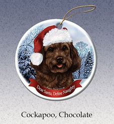 Cockapoo Dear Santa Dog Christmas Ornament