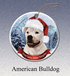 American Bulldog Dear Santa Christmas Ornament