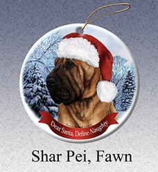 Shar Pei Dear Santa Dog Christmas Ornament