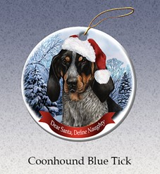 Bluetick Coonhound Dear Santa Dog Christmas Ornament