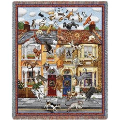 Raining Cats and Dogs Throw Blanket, Made in the USA
