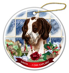Santa I Can Explain English Pointer Christmas Ornament - click for more colors