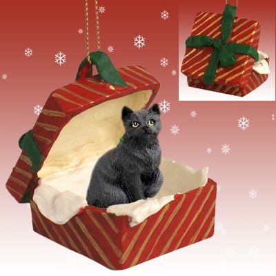 Raining Cats And Dogs Black Cat Gift Box Christmas Ornament