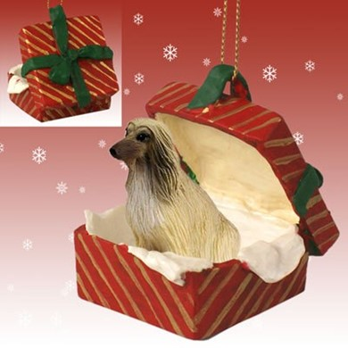 Raining Cats and Dogs | Afghan Hound Gift Box Dog Christmas Ornament