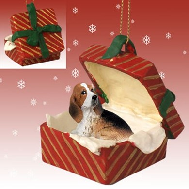 Raining Cats and Dogs | Basset Hound Gift Box Christmas Ornament