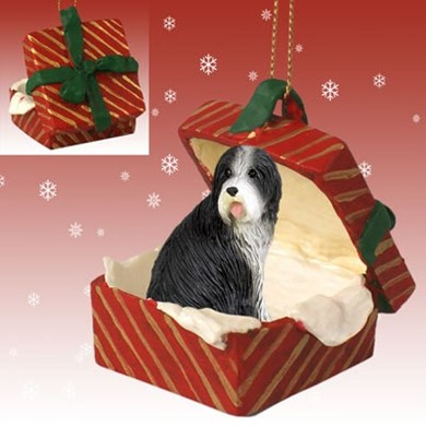 Raining Cats and Dogs | Bearded Collie Gift Box Christmas Ornament