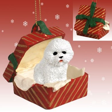 Raining Cats and Dogs | Bichon Frise Gift Box Christmas Ornament