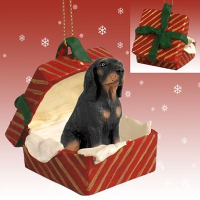 Raining Cats and Dogs | Black and Tan Coonhound Gift Box Christmas Ornament