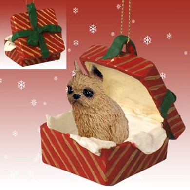 Raining Cats and Dogs | Brussels Griffon Gift Box Christmas Ornament