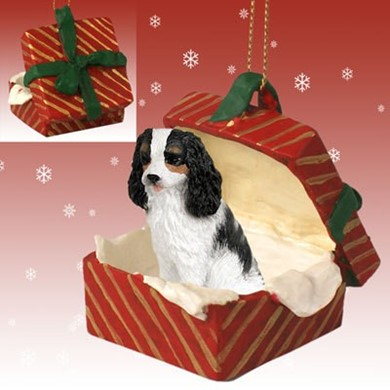 Raining Cats and Dogs | Cavalier King Charles Gift Box Christmas Ornament