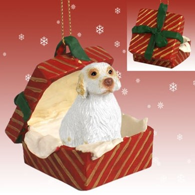 Raining Cats and Dogs | Clumber Spaniel Gift Box Chirstmas Ornament