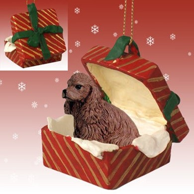 Raining Cats and Dogs | Cocker Spaniel Gift Box Christmas Ornament