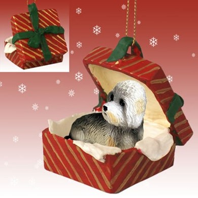 Raining Cats and Dogs | Dandie Dinmont Terrier Gift Box Christmas Ornament