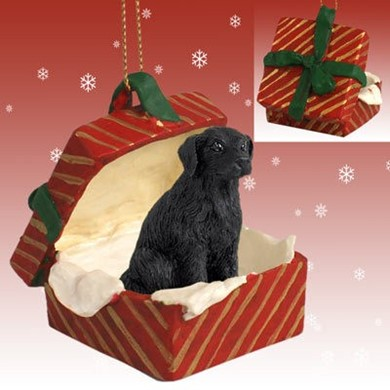 Raining Cats and Dogs | Flat Coated Retriever Gift Box Christmas Ornament