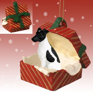 Raining Cats and Dogs | Smooth Fox Terrier Gift Box Christmas Ornament