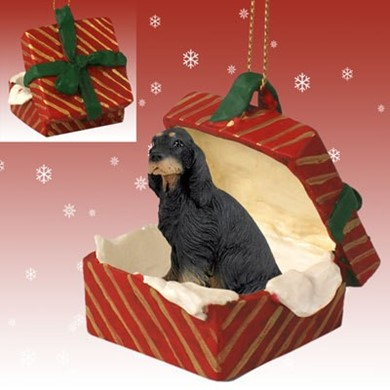Raining Cats and Dogs | Gordon Setter Gift Box Christmas Ornament