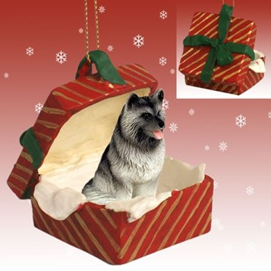 Raining Cats and Dogs | Keeshond Gift Box Christmas Ornament