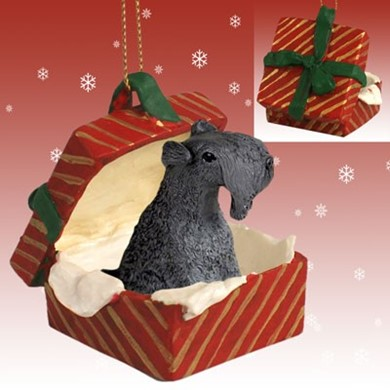 Raining Cats and Dogs | Kerry Blue Terrier Gift Box Christmas Ornament