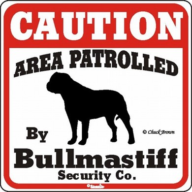 Raining Cats and Dogs | Bullmastiff Caution Sign, the Perfect Dog Warning Sign