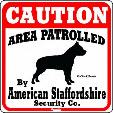 Raining Cats and Dogs | American Staffordshire Terrier Caution Sign