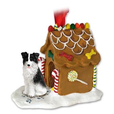 Raining Cats and Dogs | Border Collie Gingerbread Christmas Ornament