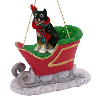 Raining Cats and Dogs | Alaskan Malamute Christmas Ornament with Sleigh