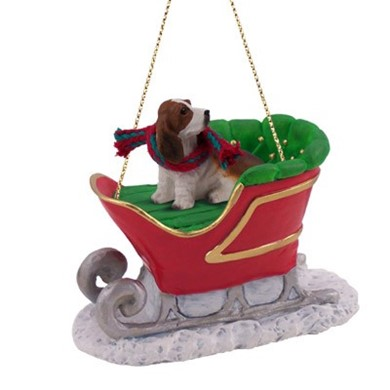 Raining Cats and Dogs | Basset Hound Sleigh Christmas Ornament