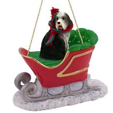 Raining Cats and Dogs | Bearded Collie Christmas Ornament with Sleigh