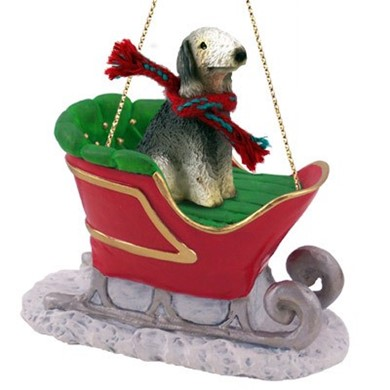 Raining Cats and Dogs | Bedlington Terrier Christmas Ornament with Sleigh