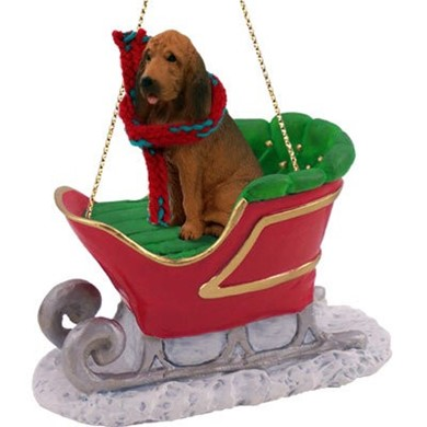 Raining Cats and Dogs | Bloodhound Christmas Ornament with Sleigh