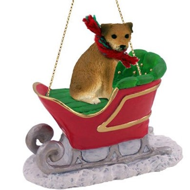 Raining Cats and Dogs | Border Terrier Christmas Ornament with Sleigh
