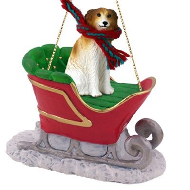 Raining Cats and Dogs | Borzoi Christmas Ornament with Sleigh
