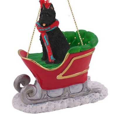 Raining Cats and Dogs | Bouvier Christmas Ornament with Sleigh