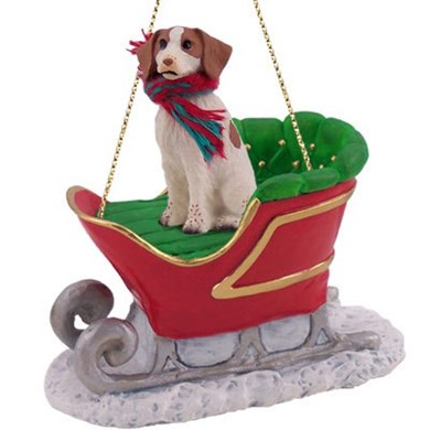 Raining Cats and Dogs | Brittany Christmas Ornament with Sleigh