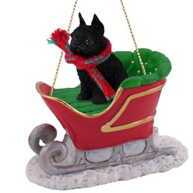 Raining Cats and Dogs | Brussels Griffon Christmas Ornament with Sleigh