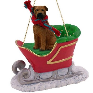 Raining Cats and Dogs | Bullmastiff Christmas Ornament with Sleigh