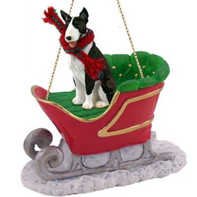 Raining Cats and Dogs | Bull Terrier Christmas Ornament with Sleigh