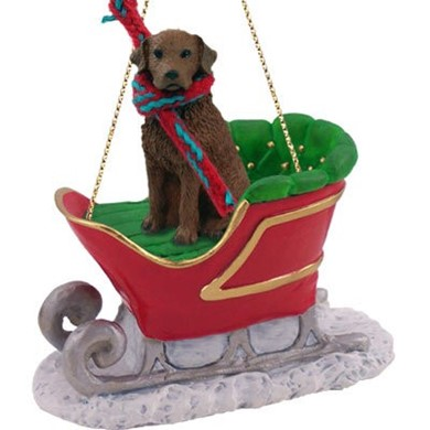 Raining Cats and Dogs | Chesapeake Bay Retriever Sleigh Christmas Ornament