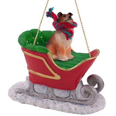 Raining Cats and Dogs | Collie Sleigh Christmas Ornament