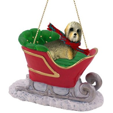 Raining Cats and Dogs | Dandie Dinmont Sleigh Christmas Ornament