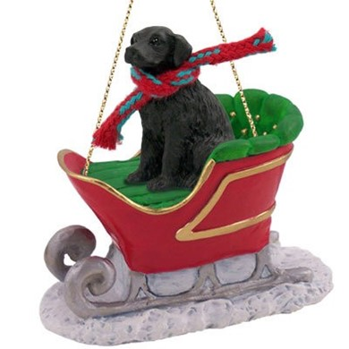 Raining Cats and Dogs | Flat Coated Retriever Sleigh Christmas Ornament