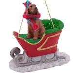 Raining Cats and Dogs | Irish Setter Sleigh Christmas Ornament