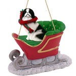 Raining Cats and Dogs | Japanese Chin Sleigh Christmas Ornament