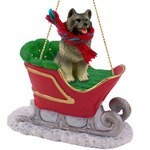 Raining Cats and Dogs | Keeshond Sleigh Christmas Ornament