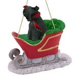 Raining Cats and Dogs | Kerry Blue Terrier Sleigh Christmas Ornament