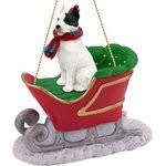 Raining Cats and Dogs | Pit Bull Terrier Sleigh Christmas Ornament