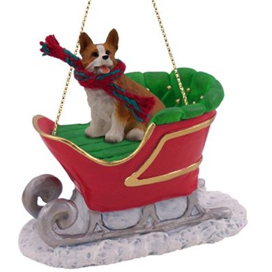 raining cats and dogs welsh corgi pembroke sleigh christmas ornament - Corgi Christmas Ornaments